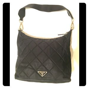 Prada black quilted tote w/silver hardware